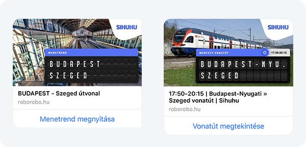Dinamikus kártyák - Sihuhu menetrend chatbot